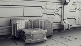 Almacén de la ciencia ficción en donde se almacenan los envases Laboratorio en una nave espacial 3d rinden libre illustration