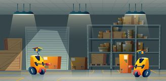 Almacén de la historieta del vector, almacenamiento con los robot-trabajadores, automatización