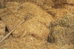 Almacén de la paja en pueblo de la granja Fondo de la paja Foto de archivo libre de regalías