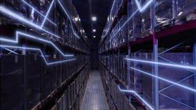 Almacena la estructura grande del comercio de la logística con las cajas en el estante Producción de la industria de la persona m almacen de metraje de vídeo