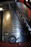 Almacenaje de acero del vino Fotografía de archivo