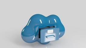 Almacenaje de fichero en nube icono del ordenador 3d Fotografía de archivo