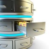 Almacenamiento de datos remotos, servicio de la nube y concepto computacionales de la tecnología del servidor de red Foto de archivo
