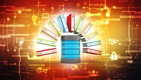 Almacenamiento de datos Servidor y gabinete de fichero con las carpetas de anillo 3d rinden libre illustration