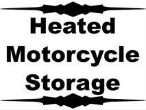 Almacenamiento heated de la motocicleta con la frontera que almacena la señal de tráfico del negocio ai calor caliente blanco del Foto de archivo