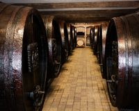 Almacenamiento subterráneo con los barriles de madera viejos Imagen de archivo libre de regalías