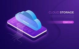 Almacenamiento y tecnología, web hosting, concepto isométrico de reserva de la nube de datos ilustración del vector