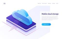 Almacenamiento y tecnología, web hosting, concepto isométrico de reserva de la nube de datos stock de ilustración