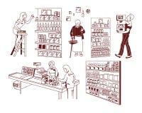 Almacene diversos productos stock de ilustración