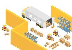 Almacene el ejemplo interior del mapa del almacén isométrico 3D con transporte de logística y vehículos de entrega cargador ilustración del vector