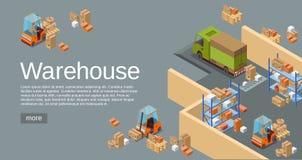 Almacene el ejemplo isométrico del vector 3D del almacén y transporte y entrega industriales modernos de la logística ilustración del vector