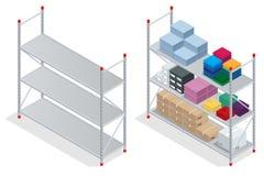 Almacene el interior Almacén, mercancías Estantes vacíos del almacén Ejemplo isométrico plano del vector 3d Imagen de archivo libre de regalías