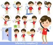 Almacene el men_complex del uniforme del rojo del personal libre illustration