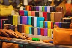 Almacene las mercancías de cuero Imágenes de archivo libres de regalías