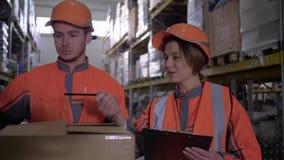 Almacene los empleados en workwear y los cascos que discuten el trabajo y hace notas cerca de las cajas almacen de metraje de vídeo