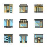Almacene los iconos planos de las fachadas Foto de archivo libre de regalías