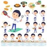 Almacene men_cooking uniforme del azul del personal stock de ilustración