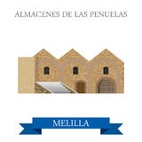 Almacenes de Las Penuelas en Melilla. Flat cartoon Royalty Free Stock Photo