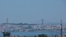 Almada en bidge aan Lissabon Royalty-vrije Stock Fotografie