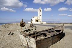 Almadraba de monteleva, cabo de gata, Andalusia, spagna, Europa, chiesa delle saline di las Fotografia Stock Libera da Diritti
