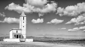 Almadraba de monteleva, cabo de gata, Andalusia, spagna, Europa, chiesa delle saline di las Immagini Stock Libere da Diritti