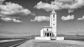 Almadraba de monteleva, cabo de gata, Andalusia, spagna, Europa, chiesa delle saline di las Fotografia Stock