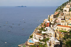 Almafi Coast in summer. Almafi Coast houses on the cliff by the sea in summer stock photo