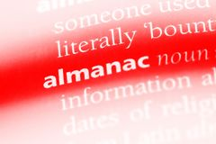 Almanac. Word in a dictionary.  concept Royalty Free Stock Photography