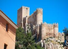 Almansa castle in Albacete of Spain. At Castile La Mancha province royalty free stock images
