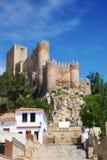Almansa slott i Albacete av Spanien arkivfoto