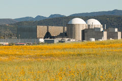 Almaraz nuclear power plant in the center of Spain Stock Image