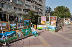 Almaty Arbat. Pedestrian zone street Jibek Joly Royalty Free Stock Photography