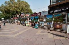 Almaty Arbat. Pedestrian zone street Jibek Joly Stock Photography
