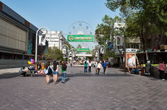 Almaty Arbat Rua pedestre Jibek Joly da zona Imagem de Stock Royalty Free