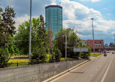 Almaty - arkitektur längs den Abay avenyn Arkivbild