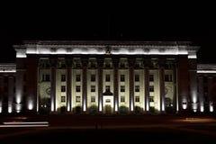 Almaty budynku nocy iluminaci widok Zdjęcie Stock