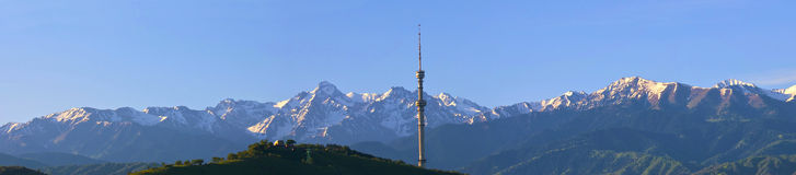 Almaty city. Excellent panorama of city against the background of the mountains Stock Image