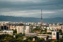Almaty City landscape with kok tobe snow-capped Tian Shan mountains in Almaty Kazakhstan. Photo taken in Almaty, Kazakhstan stock photo