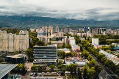 Almaty City landscape with snow-capped Tian Shan mountains in Almaty Kazakhstan. Photo taken in Almaty, Kazakhstan stock image