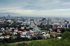 Almaty city. View from the high mountains.the photo was made with mountain gorge Koktyube Stock Images