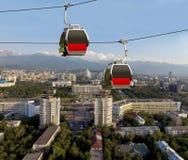 Almaty - due cabine del funicolare Fotografia Stock Libera da Diritti