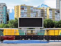 Almaty - Electronic scoreboard. ALMATY, KAZAKHSTAN - MAY 21, 2017: Electronic scoreboard on The Central Stadium in the historic centre of Almaty city, Kazakhstan Royalty Free Stock Photography