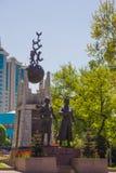 ALMATY, il KAZAKISTAN - 16 aprile 2016: Monumento Aliya Moldagulova Fotografia Stock Libera da Diritti
