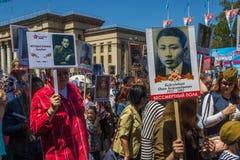 ALMATY, KASACHSTAN - 9. MAI: Unsterblicher Regimentmarsch während des V Stockfotografie