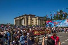 ALMATY, KASACHSTAN - 9. MAI: Unsterblicher Regimentmarsch während des V Lizenzfreies Stockbild