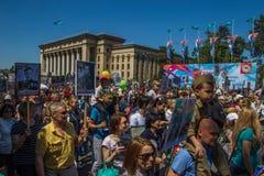 ALMATY, KASACHSTAN - 9. MAI: Unsterblicher Regimentmarsch während des V Lizenzfreies Stockfoto