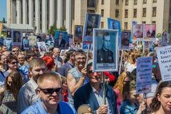 ALMATY, KASACHSTAN - 9. MAI: Unsterblicher Regimentmarsch während des V Stockfoto