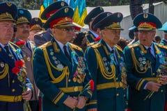 ALMATY, KASACHSTAN - 9. MAI: Victory Day-Feiersieg herein Lizenzfreie Stockfotos
