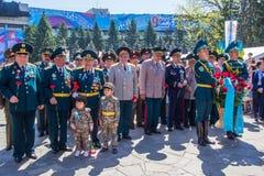 ALMATY, KASACHSTAN - 9. MAI: Victory Day-Feiersieg herein Lizenzfreie Stockfotografie