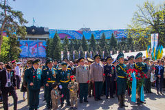 ALMATY, KASACHSTAN - 9. MAI: Victory Day-Feiersieg herein Stockfotos